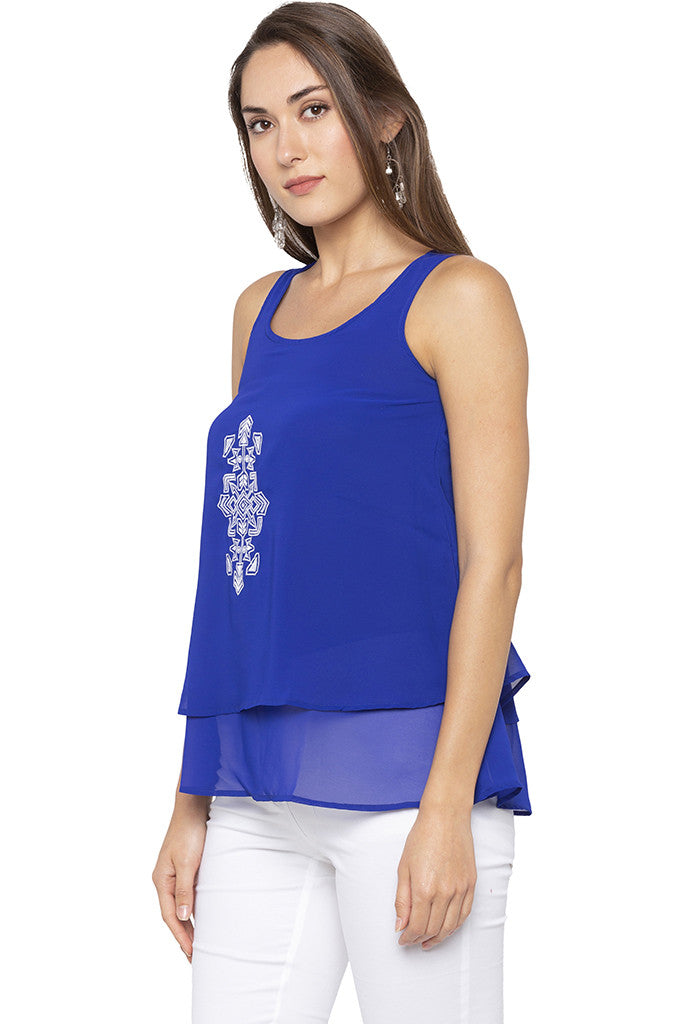 Embroidered Layered Blue Tunic-4