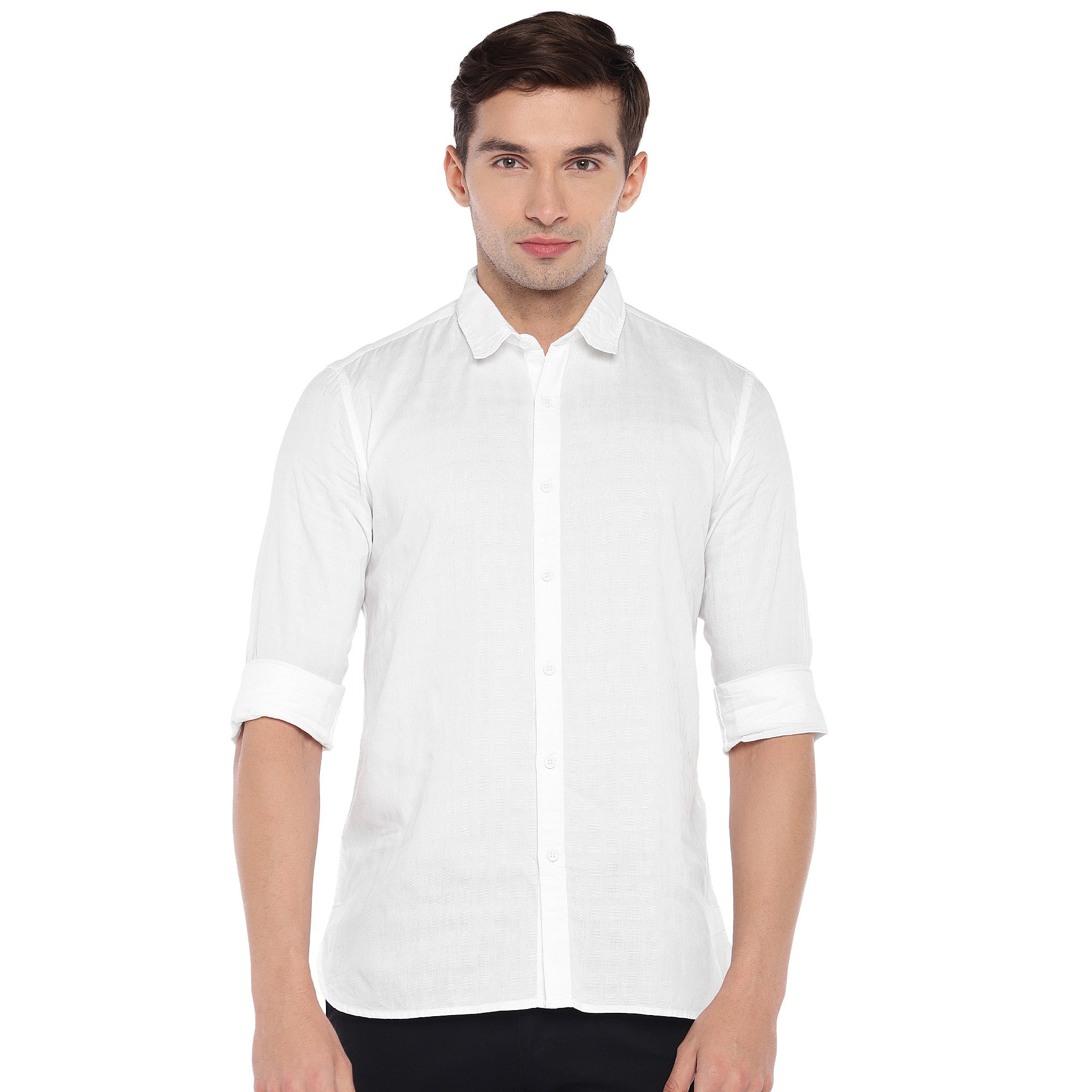 White Regular Fit Solid Casual Shirt-1