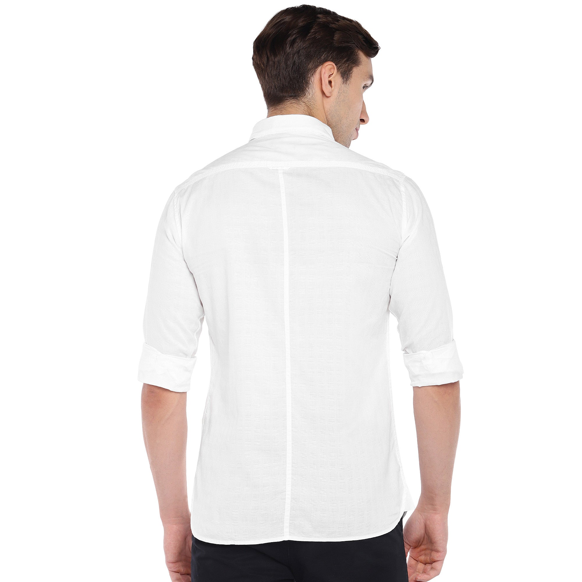 White Regular Fit Solid Casual Shirt-3
