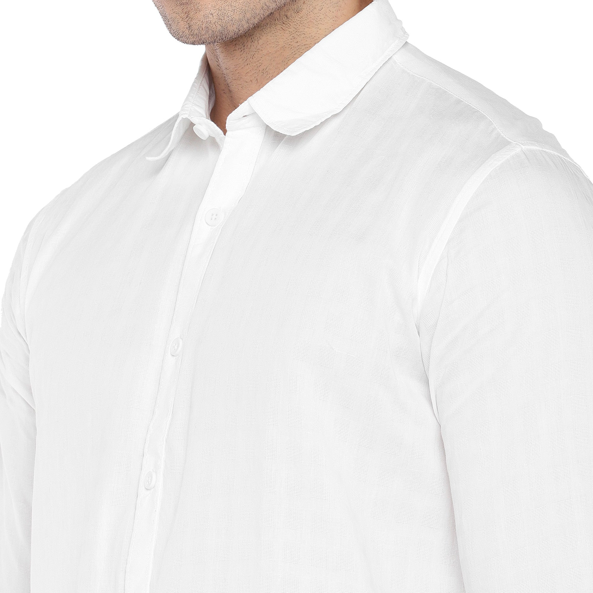 White Regular Fit Solid Casual Shirt-5