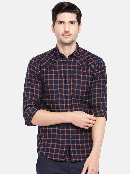 Navy Blue & Pink Regular Fit Checked Casual Shirt-1