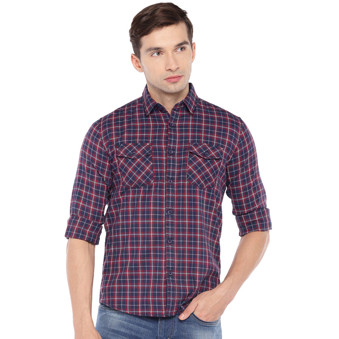 Red & Blue Regular Fit Checked Casual Shirt-1
