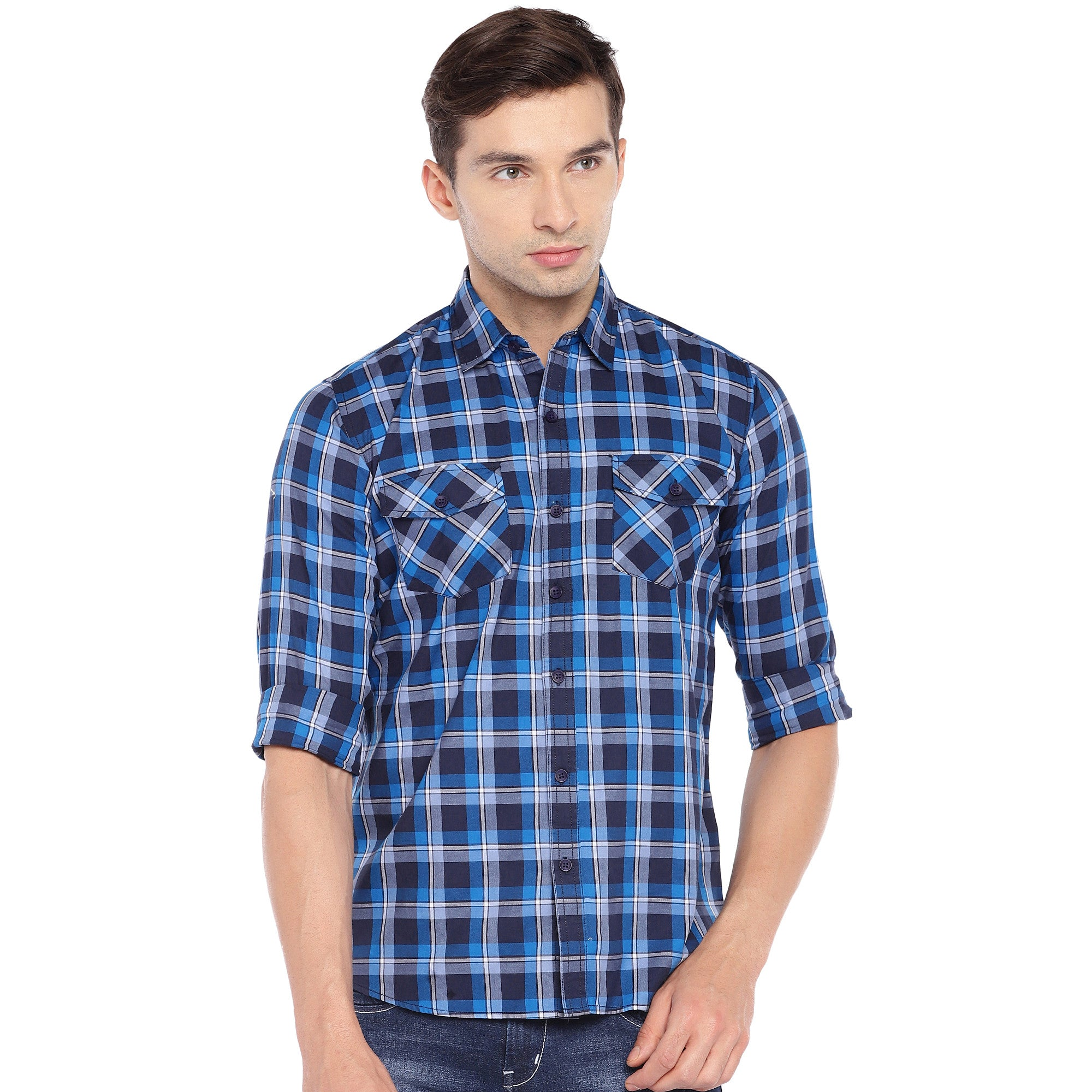 Blue & Grey Regular Fit Checked Casual Shirt-1