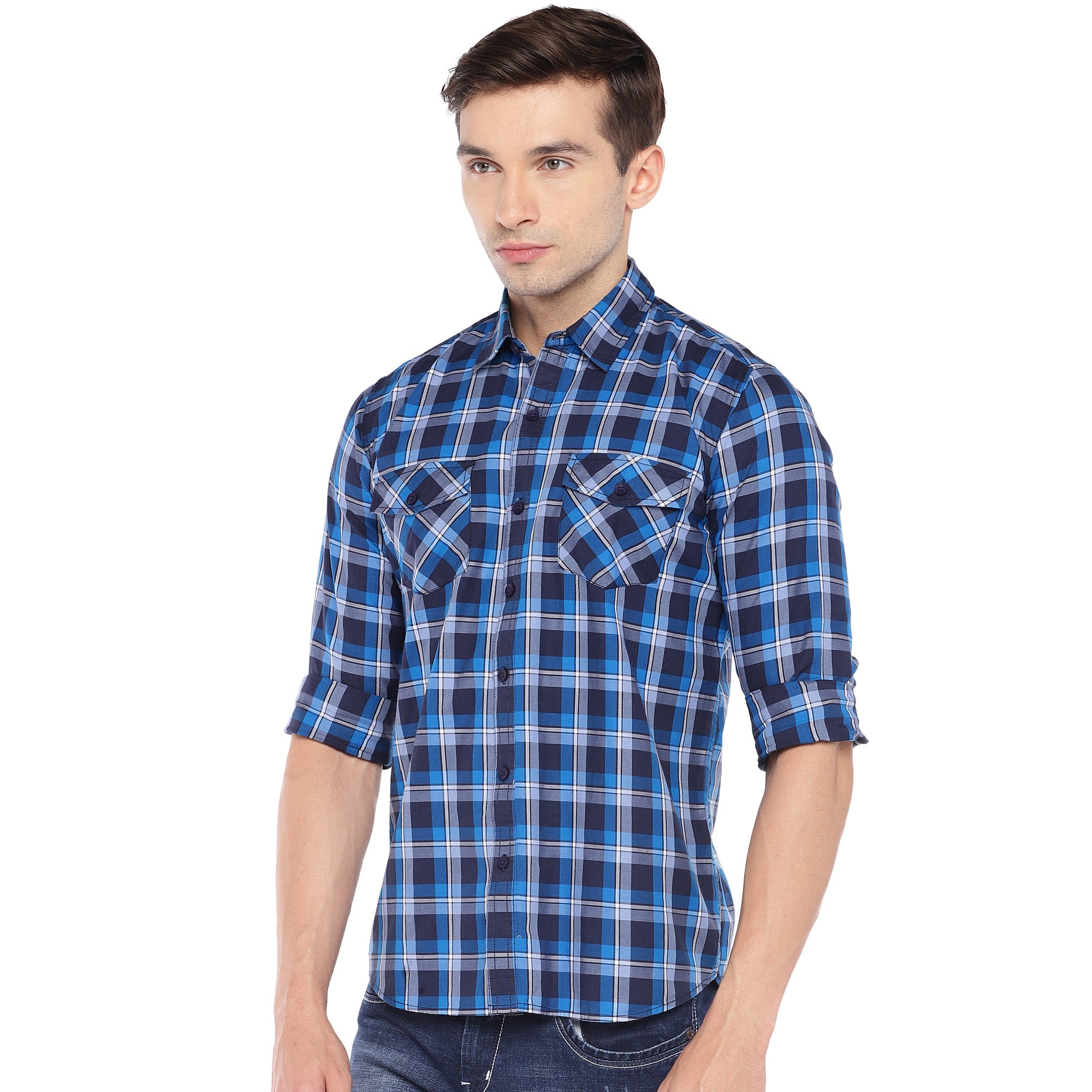 Blue & Grey Regular Fit Checked Casual Shirt-2