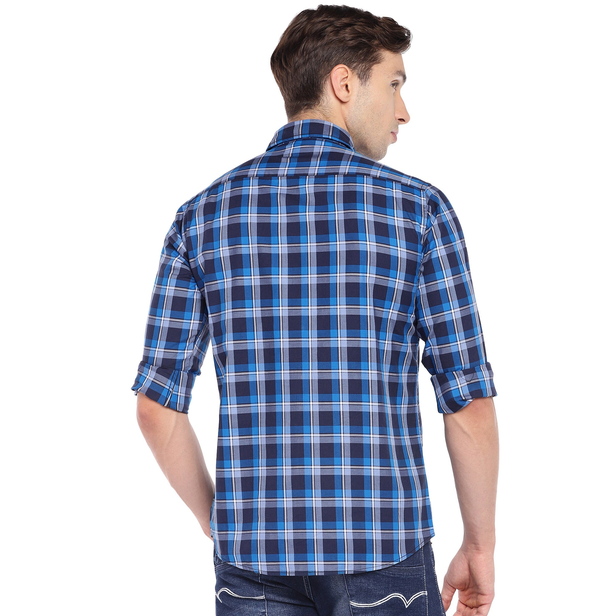 Blue & Grey Regular Fit Checked Casual Shirt-3