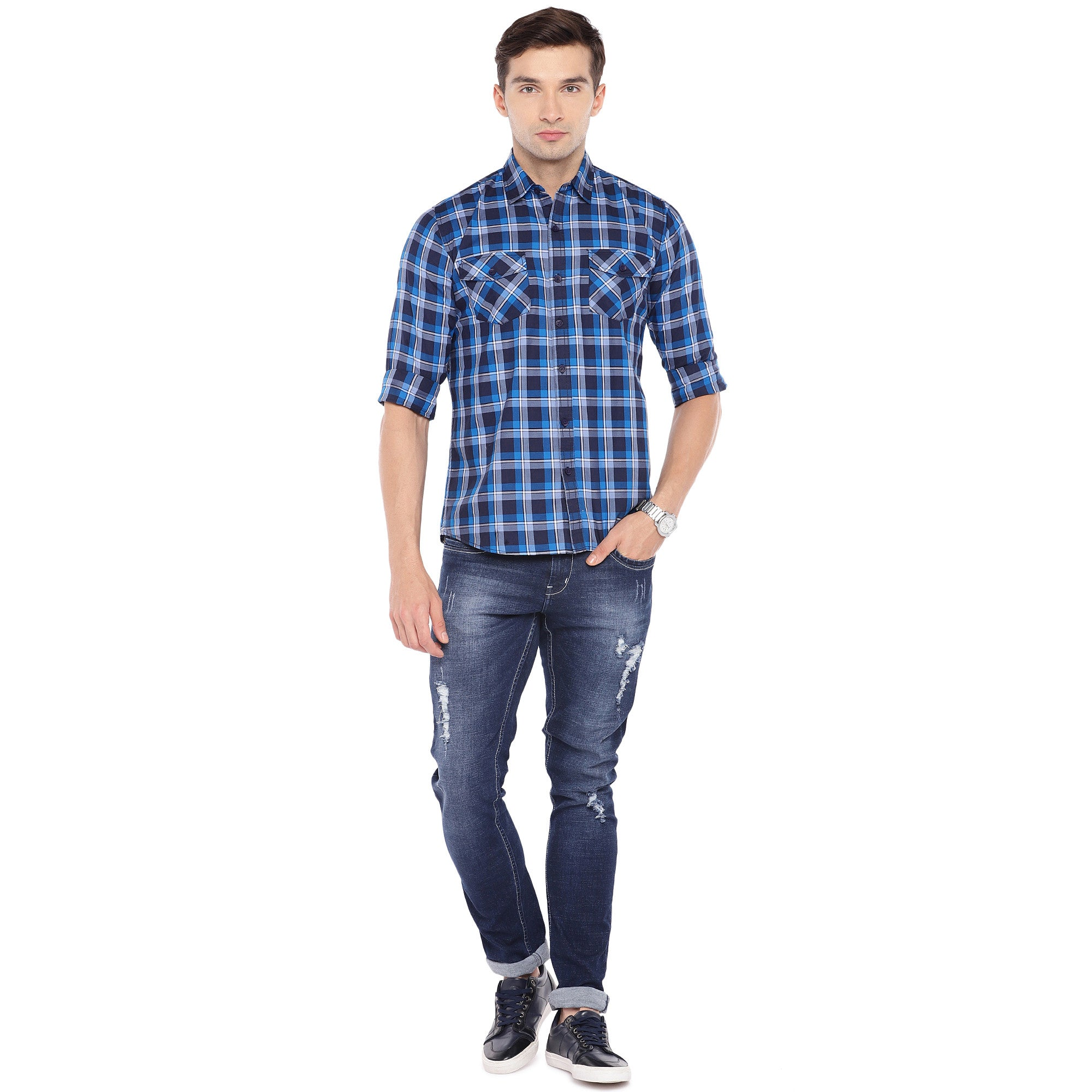 Blue & Grey Regular Fit Checked Casual Shirt-4