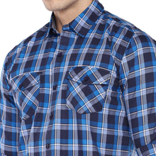 Load image into Gallery viewer, Blue & Grey Regular Fit Checked Casual Shirt-5