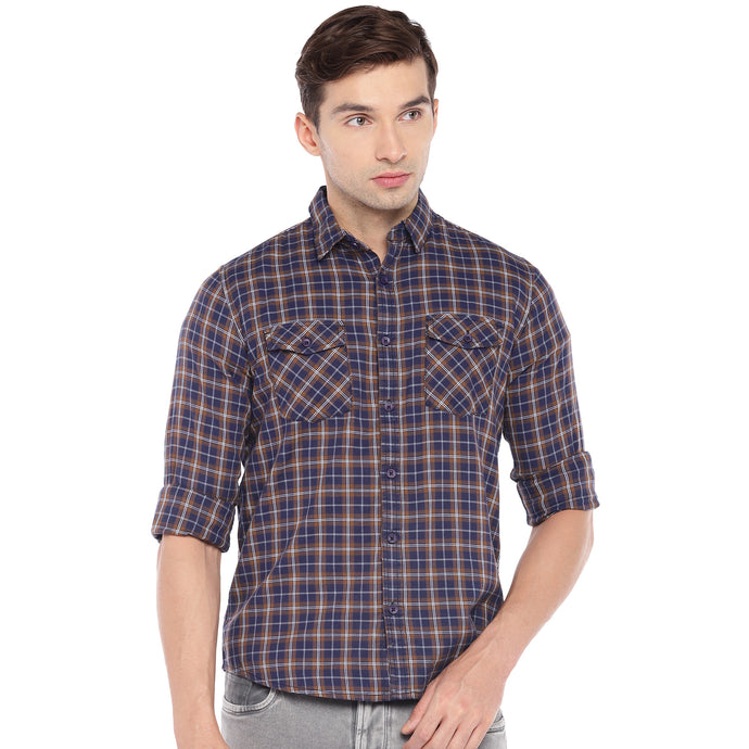 Navy Blue & Brown Regular Fit Checked Casual Shirt-1