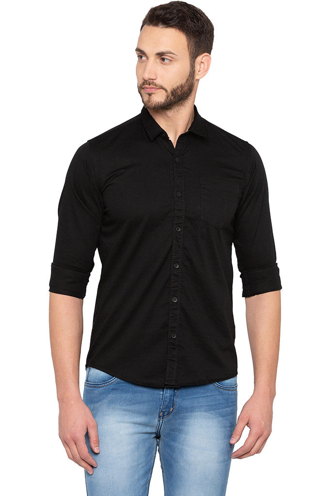 Full Sleeved Solid Black Shirt-1