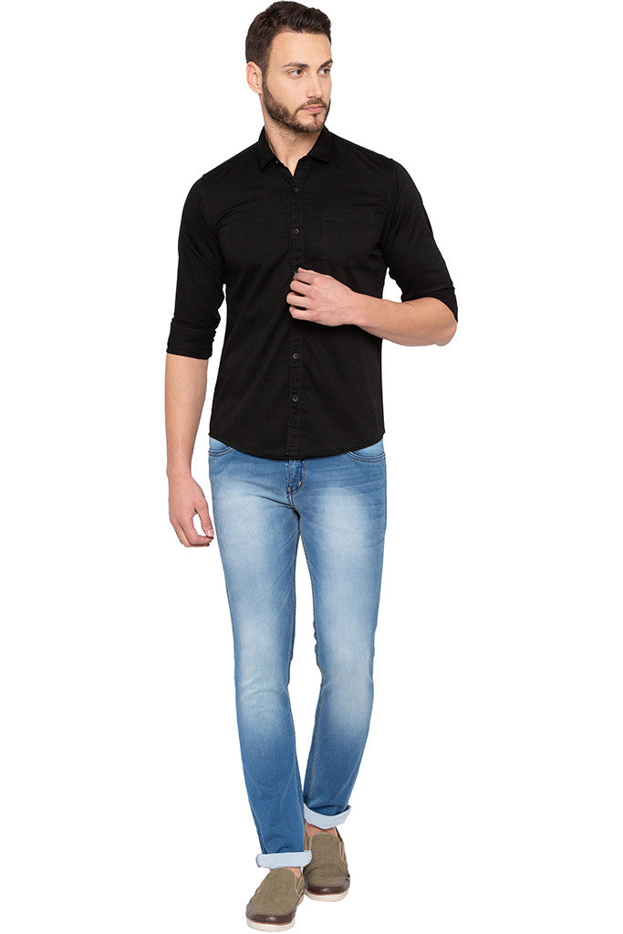 Full Sleeved Solid Black Shirt-2