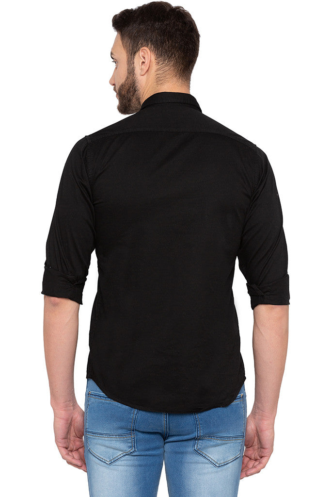 Full Sleeved Solid Black Shirt-3