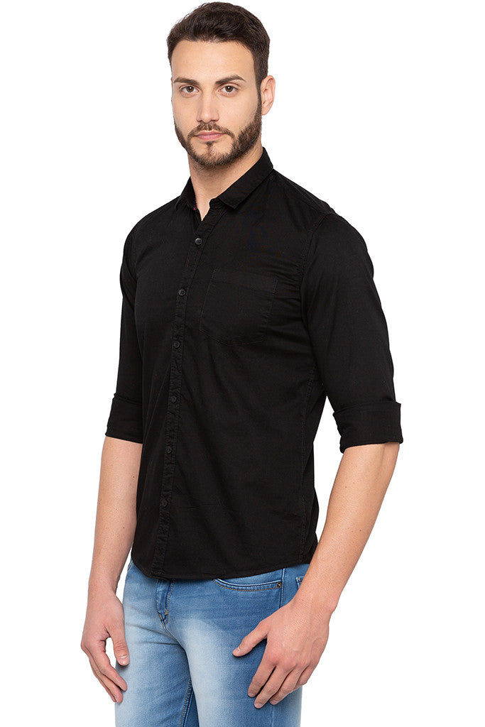 Full Sleeved Solid Black Shirt-4