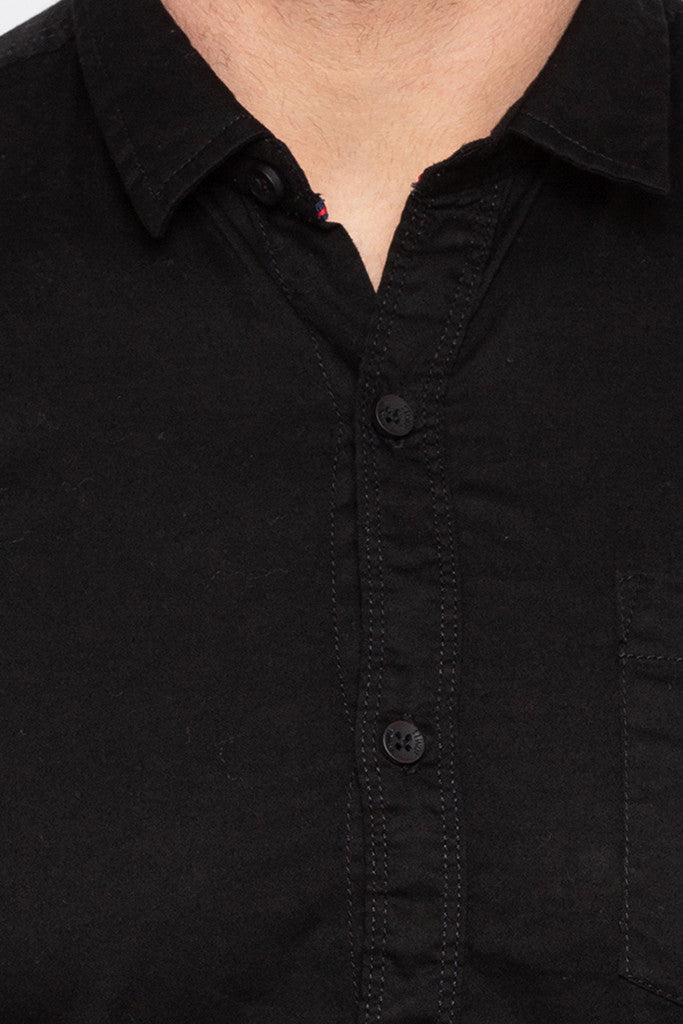 Full Sleeved Solid Black Shirt-5