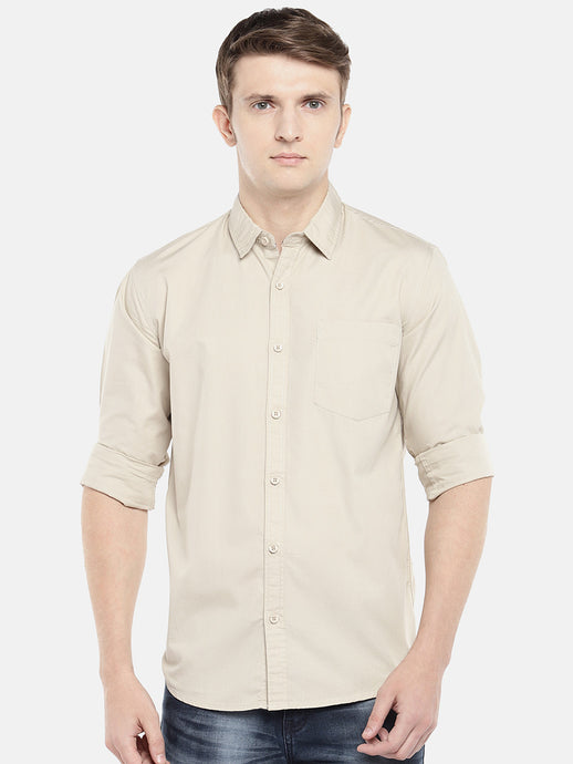 Beige Regular Fit Solid Casual Shirt-1