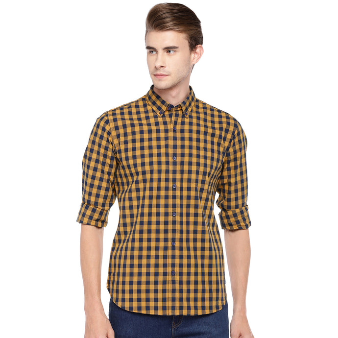 Mustard Yellow Regular Fit Checked Casual Shirt-1