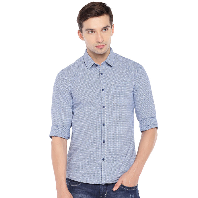 Blue & White Regular Fit Checked Casual Shirt-1