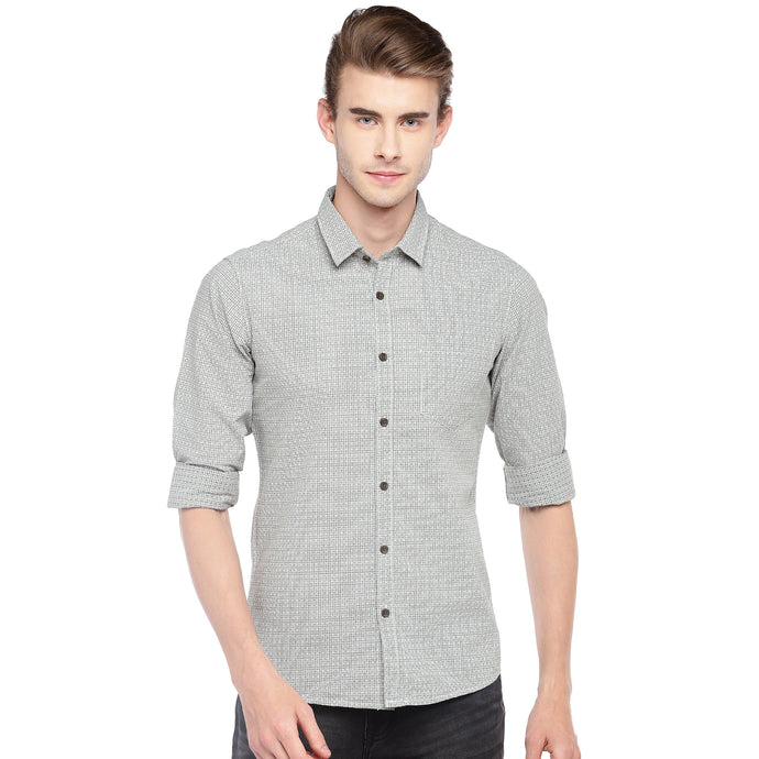 Grey Regular Fit Printed Casual Shirt-1