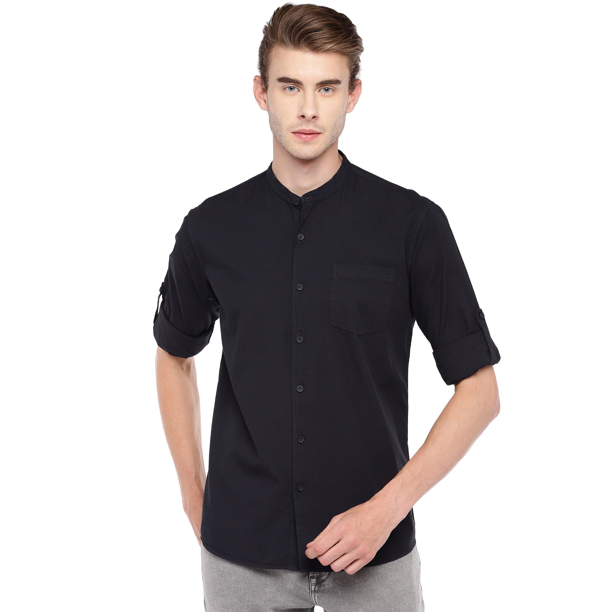 Navy Blue Regular Fit Solid Casual Shirt-1