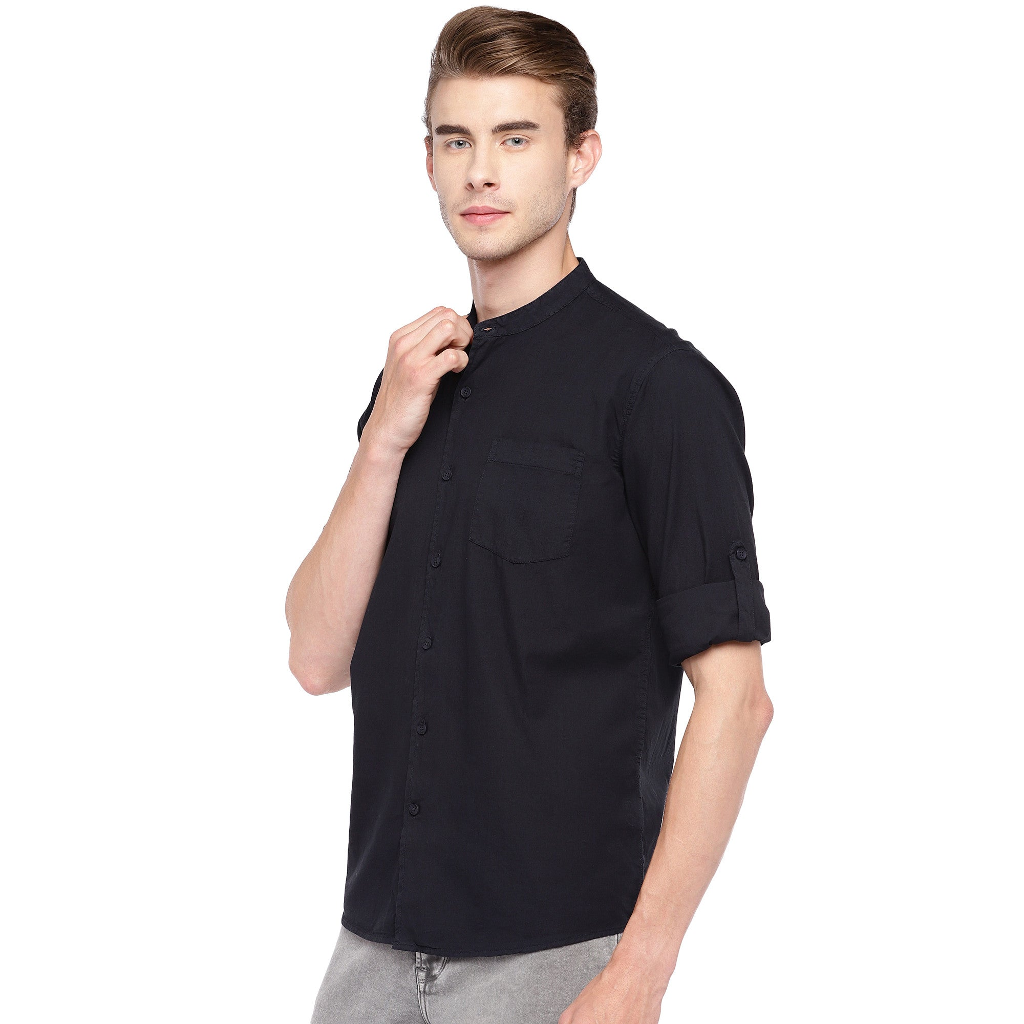 Navy Blue Regular Fit Solid Casual Shirt-2