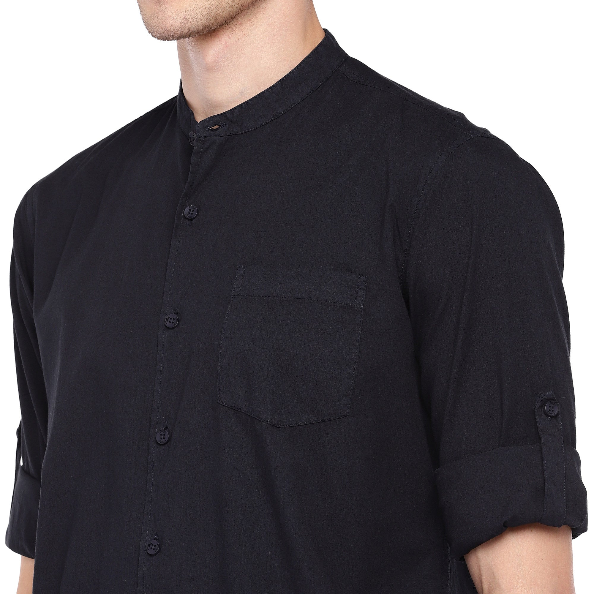 Navy Blue Regular Fit Solid Casual Shirt-5