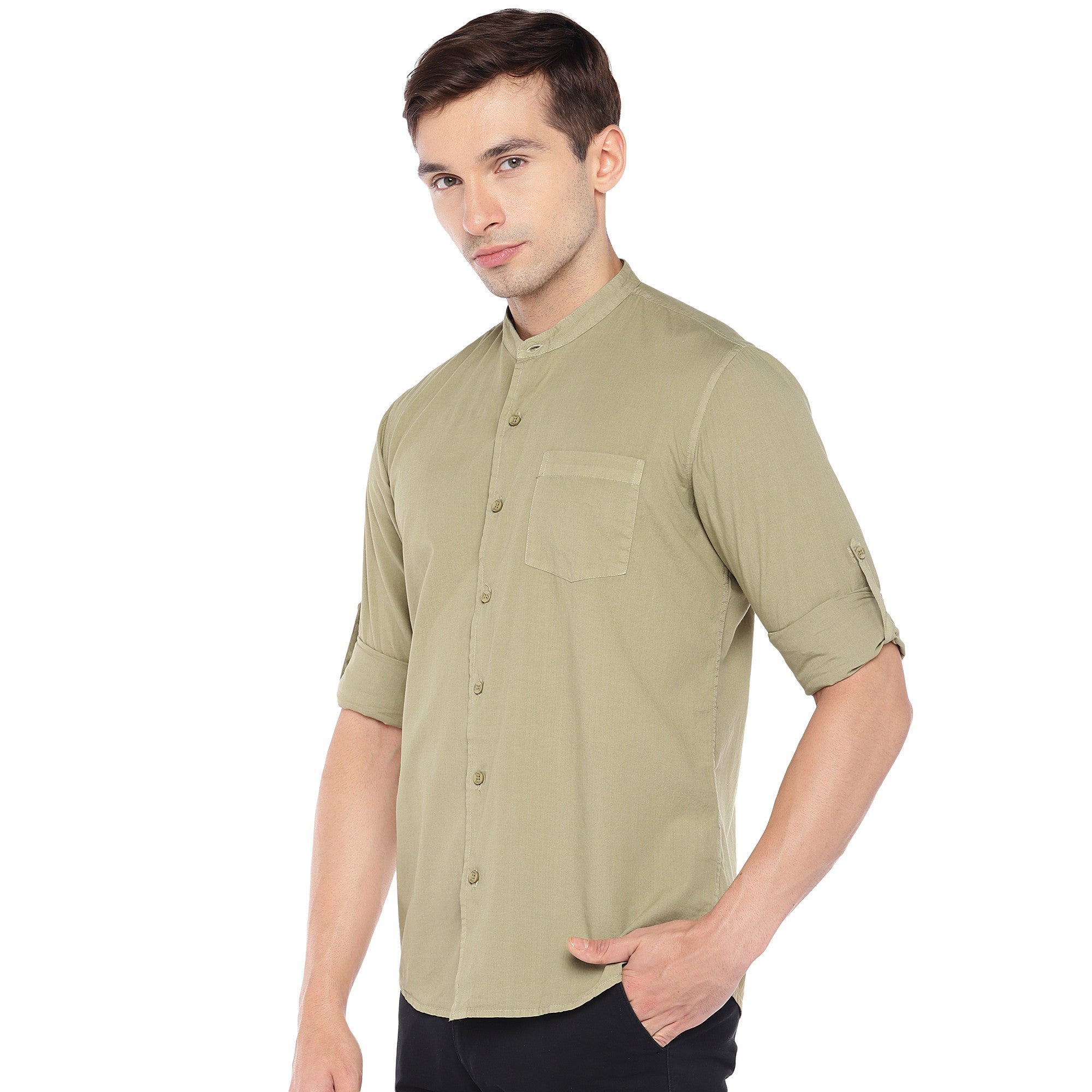 Beige Regular Fit Solid Casual Shirt-2