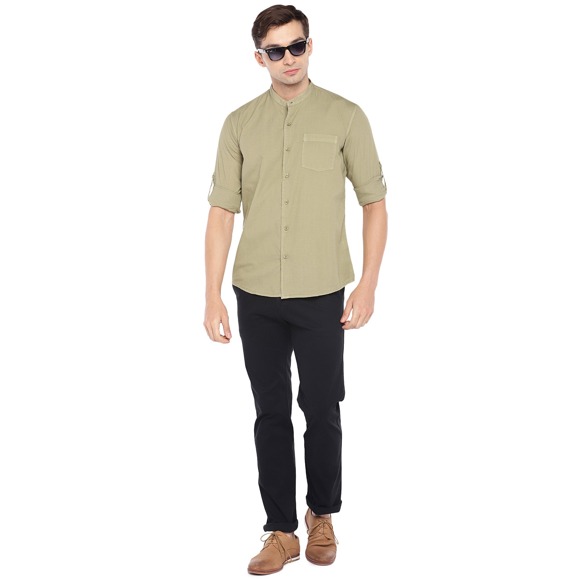 Beige Regular Fit Solid Casual Shirt-4