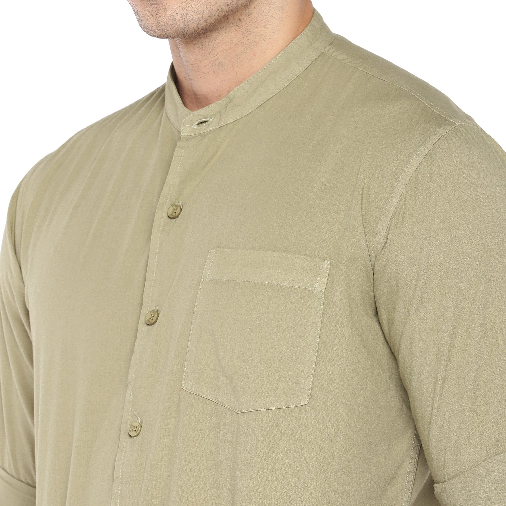 Beige Regular Fit Solid Casual Shirt-5