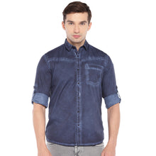 Load image into Gallery viewer, Blue Regular Fit Faded Casual Shirt-1
