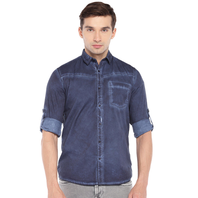 Blue Regular Fit Faded Casual Shirt-1