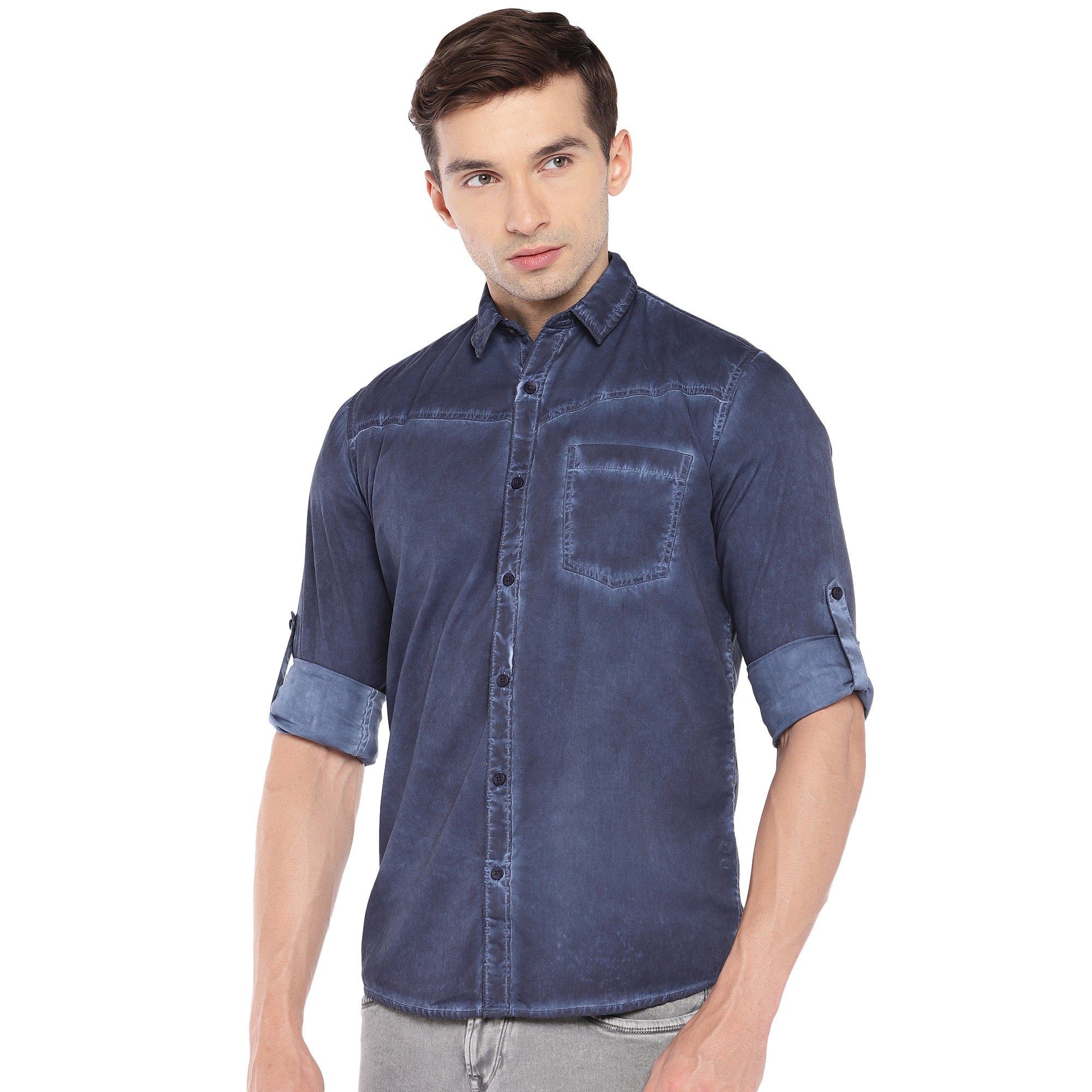 Blue Regular Fit Faded Casual Shirt-2