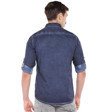 Load image into Gallery viewer, Blue Regular Fit Faded Casual Shirt-3