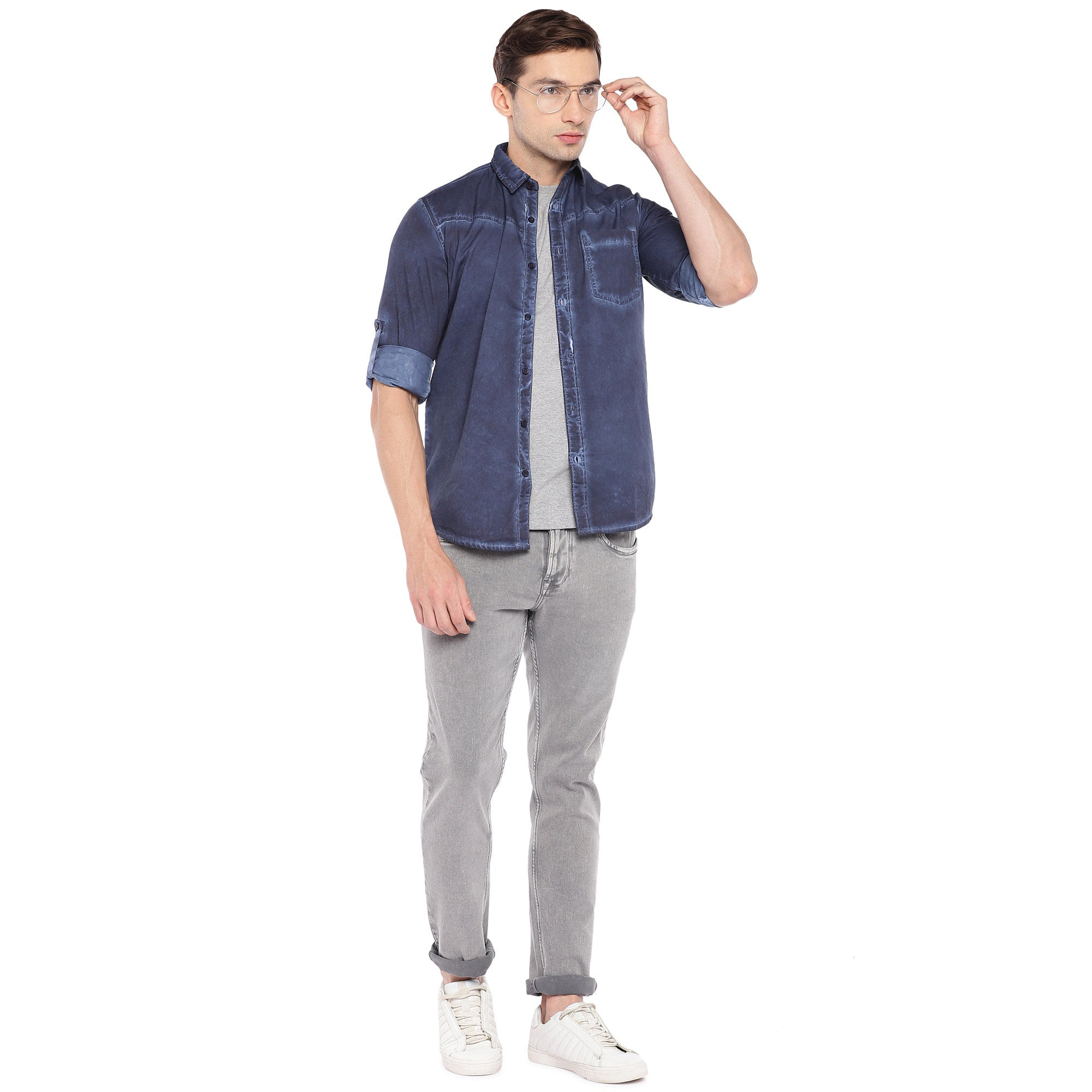 Blue Regular Fit Faded Casual Shirt-4