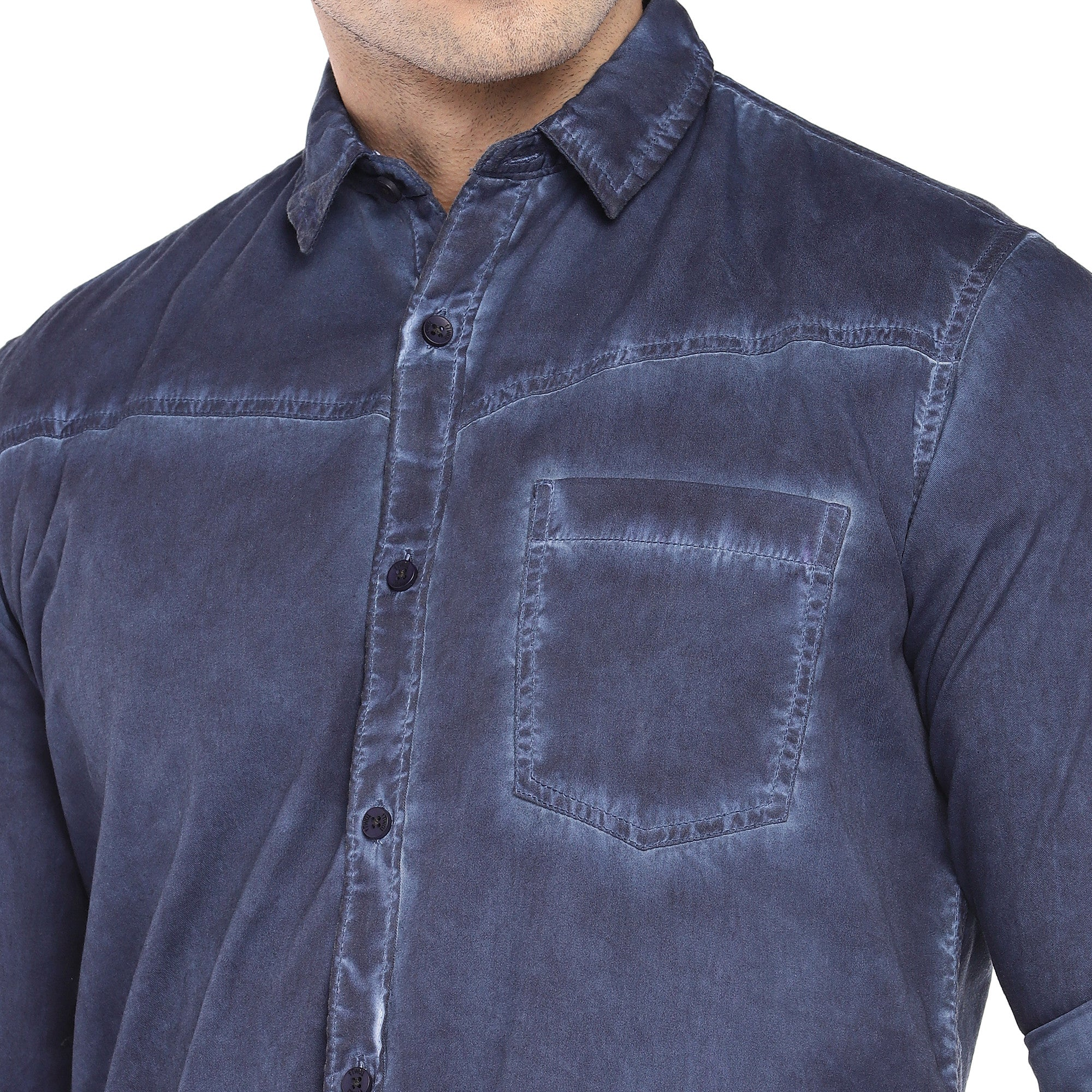Blue Regular Fit Faded Casual Shirt-5