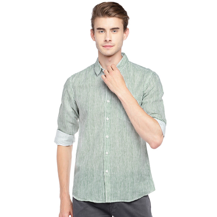 Green & White Regular Fit Striped Casual Shirt-1