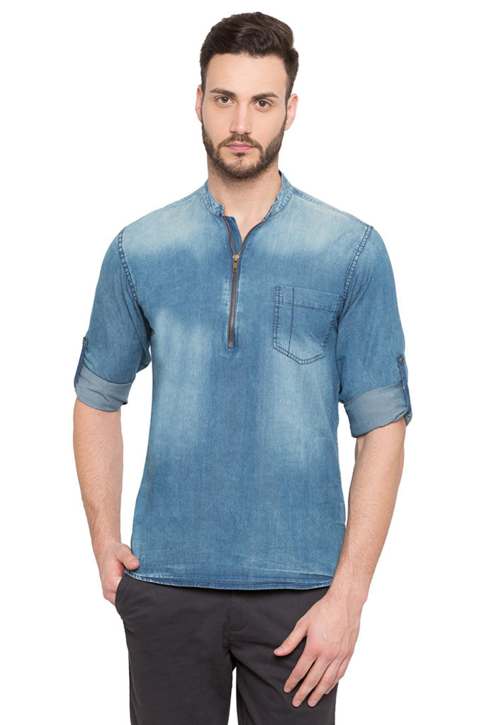 Light Wash Distress Casual Shirt-1