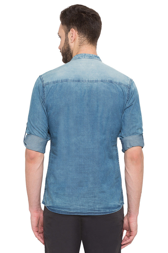 Light Wash Distress Casual Shirt-3