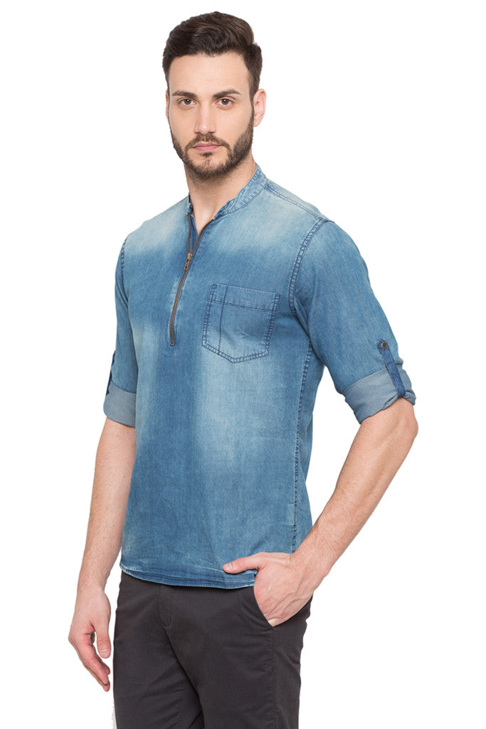 Light Wash Distress Casual Shirt-4