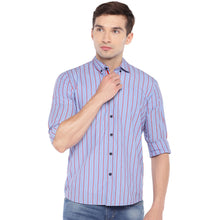 Load image into Gallery viewer, Blue Regular Fit Striped Casual Shirt-1