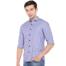 Load image into Gallery viewer, Blue Regular Fit Striped Casual Shirt-2