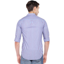 Load image into Gallery viewer, Blue Regular Fit Striped Casual Shirt-3
