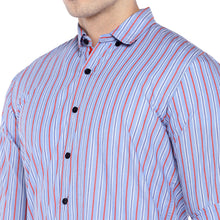Load image into Gallery viewer, Blue Regular Fit Striped Casual Shirt-5
