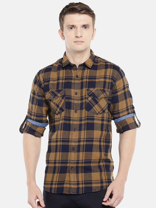 Brown & Navy Blue Regular Fit Checked Casual Shirt-1
