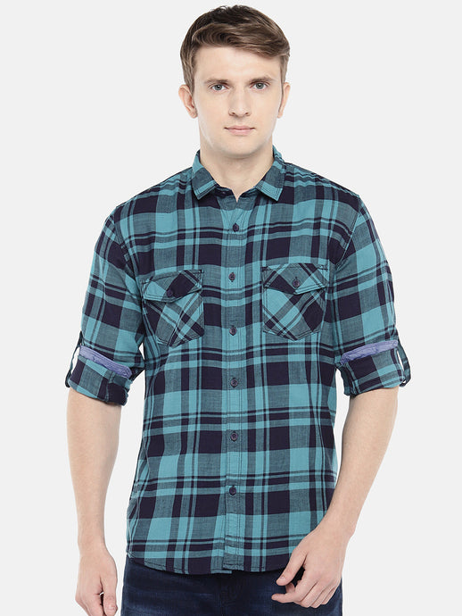 Green & Navy Blue Regular Fit Checked Casual Shirt-1