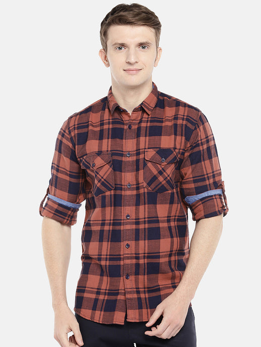 Orange & Navy Blue Regular Fit Checked Casual Shirt-1
