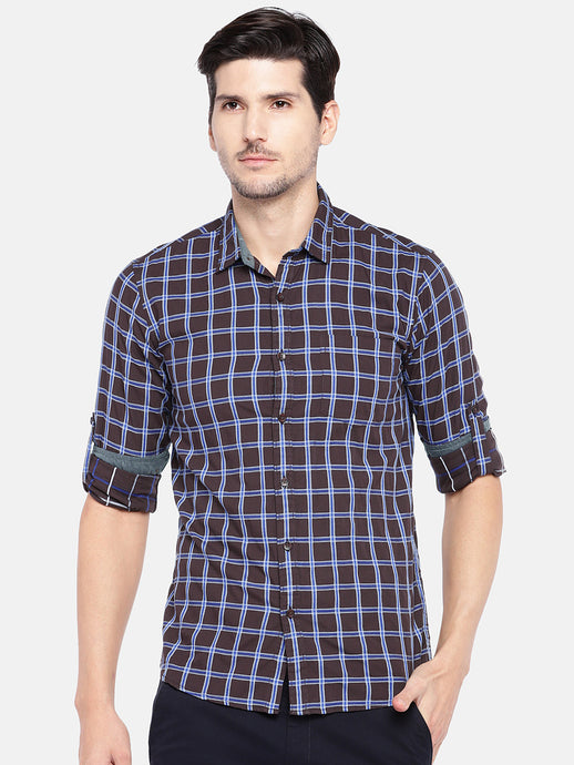 Brown & Blue Regular Fit Checked Casual Shirt-1