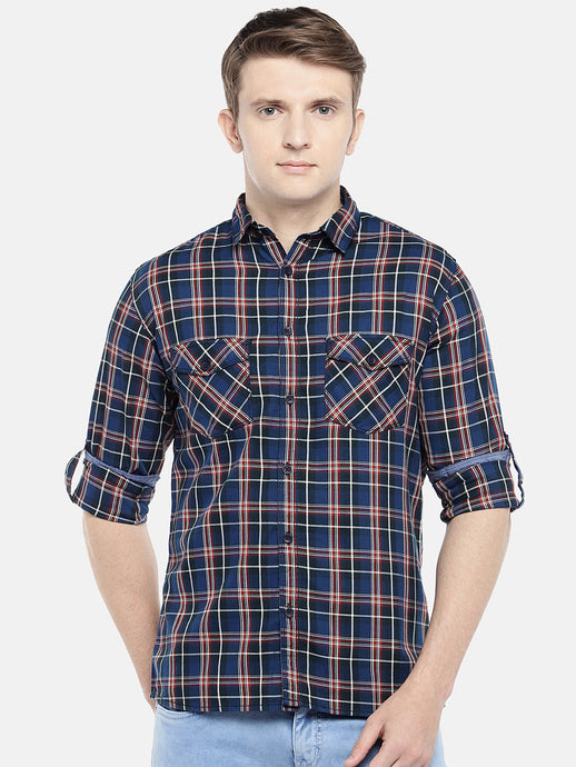 Navy Blue Regular Fit Checked Casual Shirt-1
