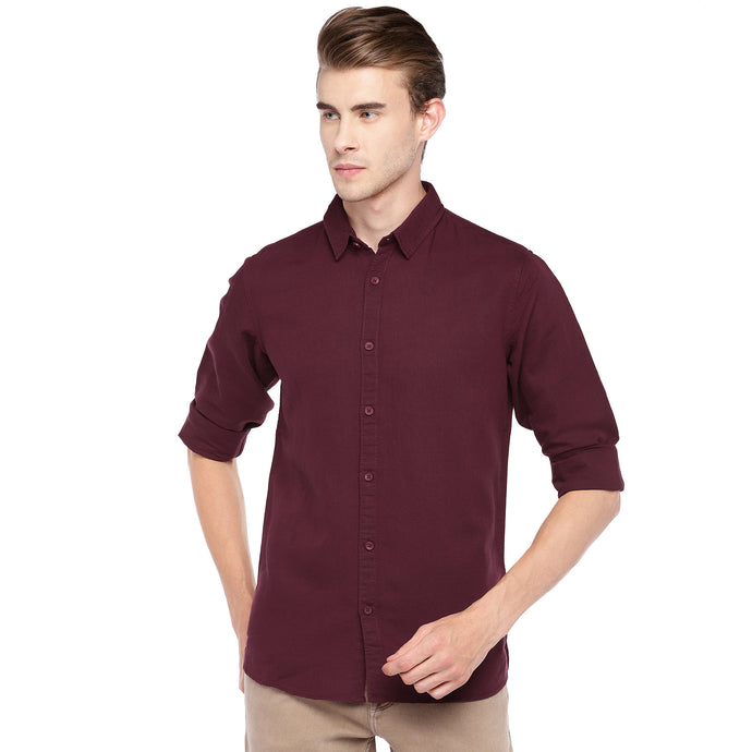 Maroon Regular Fit Solid Casual Shirt-1