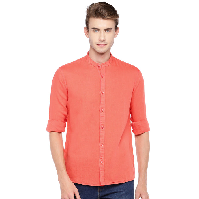 Coral Pink Regular Fit Solid Casual Shirt-1