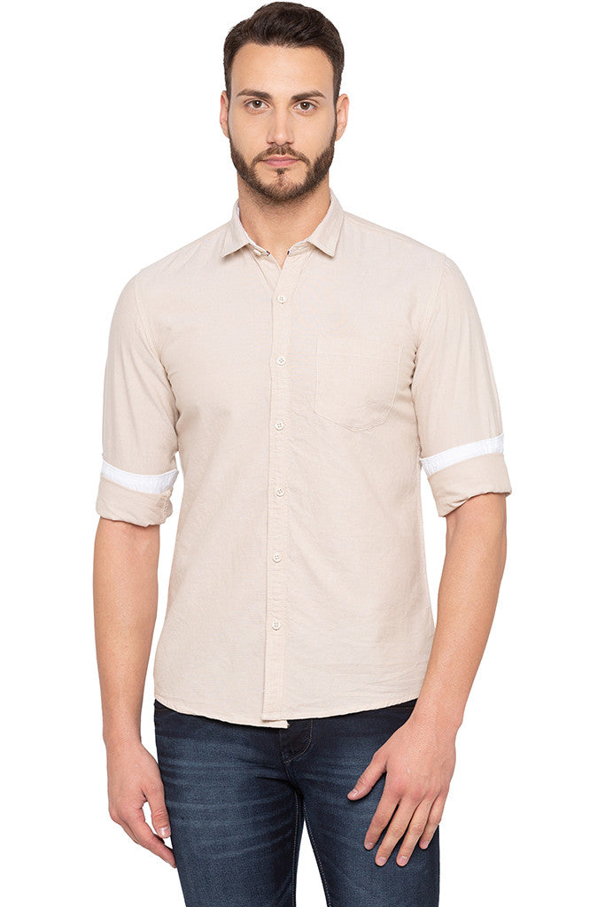Slim Fit Solid Beige Shirt-1