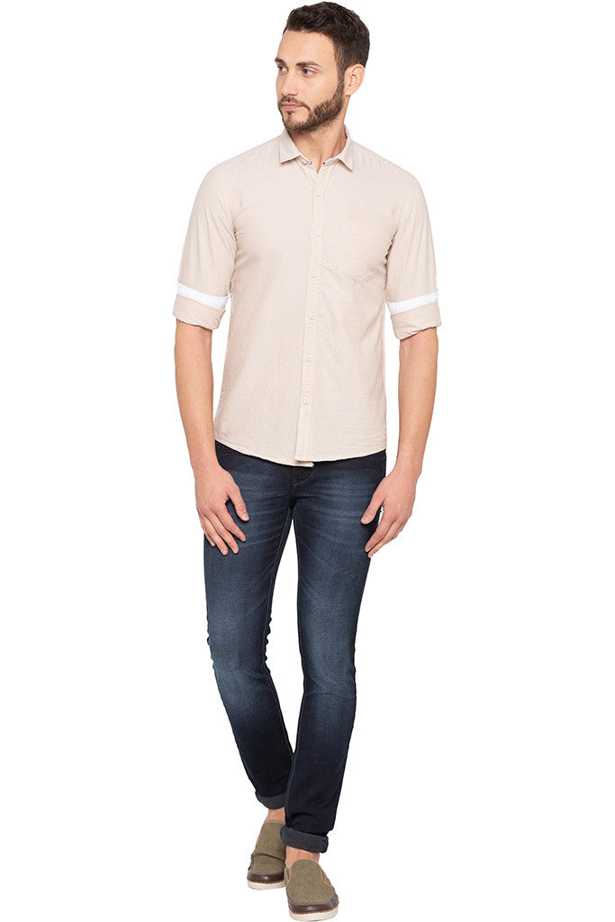Slim Fit Solid Beige Shirt-2